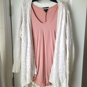 Cream knit open cardigan lace trim by confess
